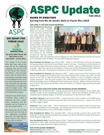 ASPC Update Newsletter Fall 2013